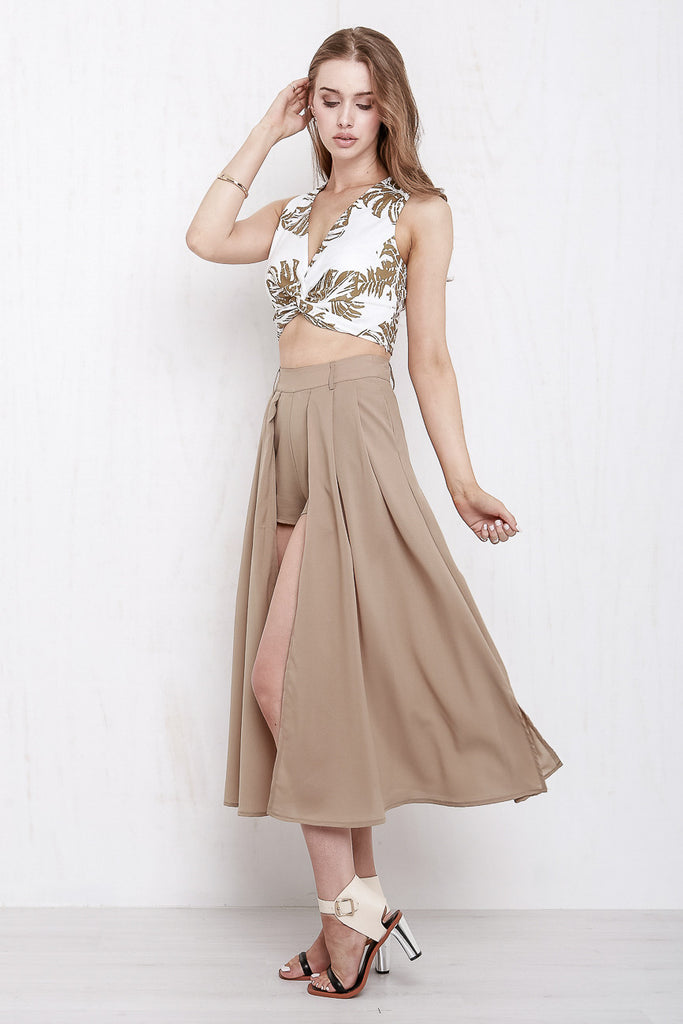 Midnight In Paris Maxi Skort Mocha - Morrisday | The Label - 3