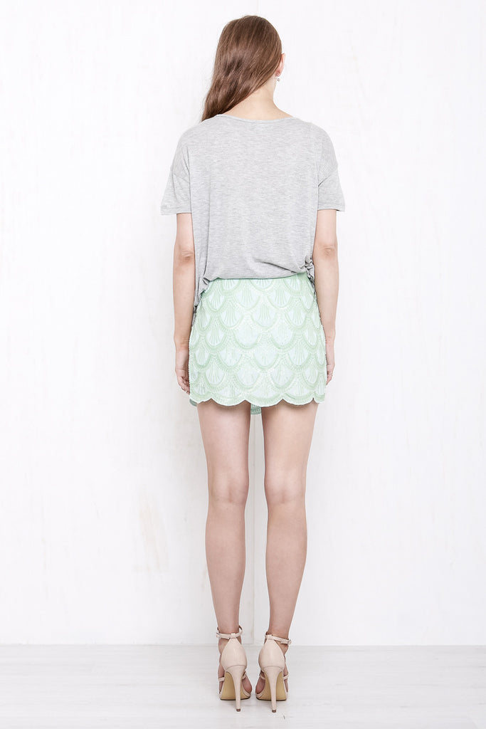Mermaid Sequin Mini Skirt Mint Green - Morrisday | The Label - 4