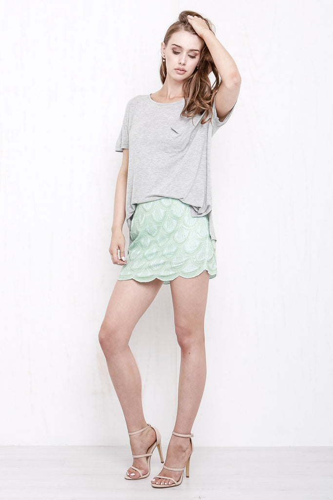 Mermaid Sequin Mini Skirt Mint Green - Morrisday | The Label - 2