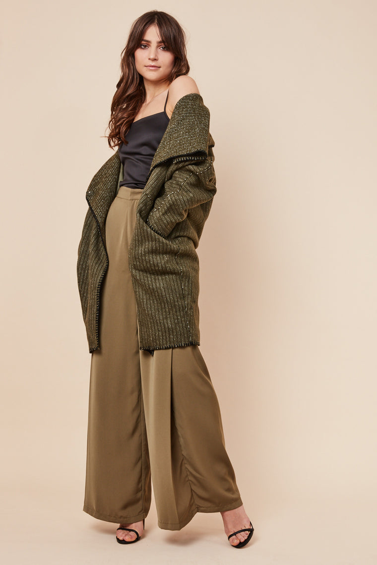 Piperline Shawl Collar Coat Khaki
