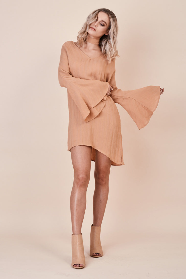 Sienna Bell Sleeve Dress Sand - Morrisday | The Label - 1