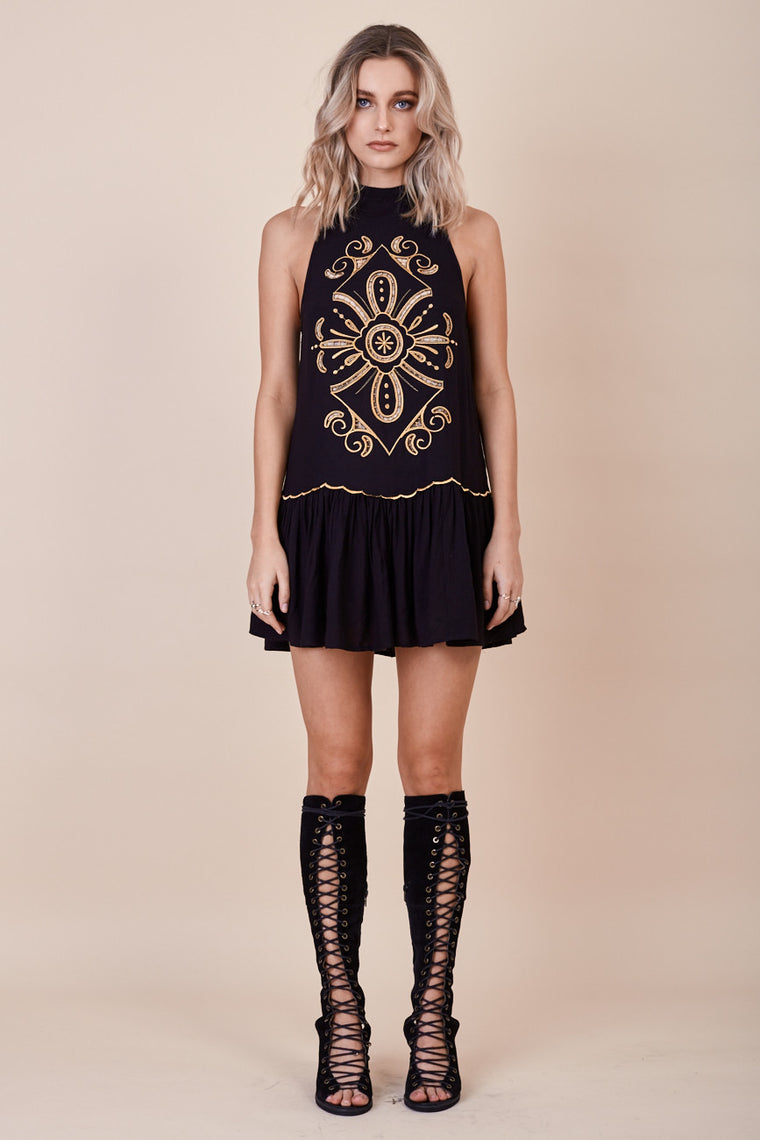 Pandora Embroidered Dress Black - Morrisday | The Label - 1