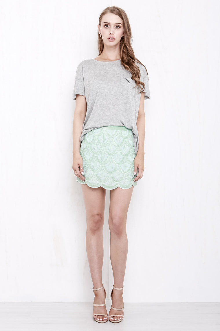 Mermaid Sequin Mini Skirt Mint Green