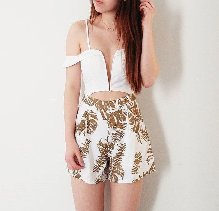 California Playsuit White/Palm Tree Print - Morrisday | The Label - 8