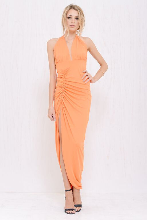 Kimberly Plunge Dress Orange - Morrisday | The Label - 1