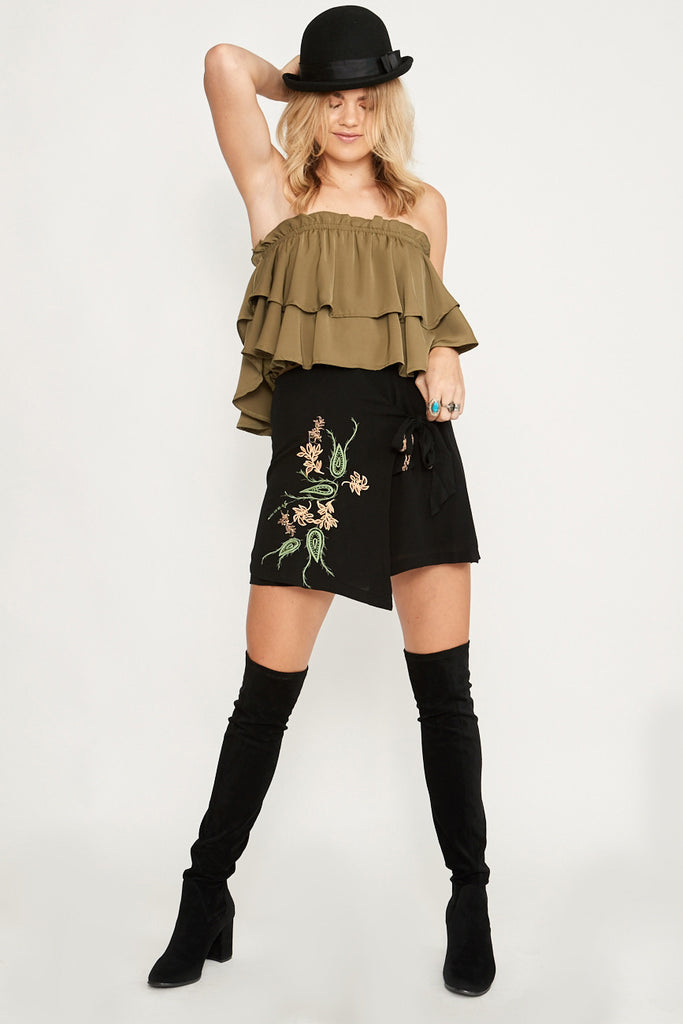 Saint Rodeo Mini Skirt Black