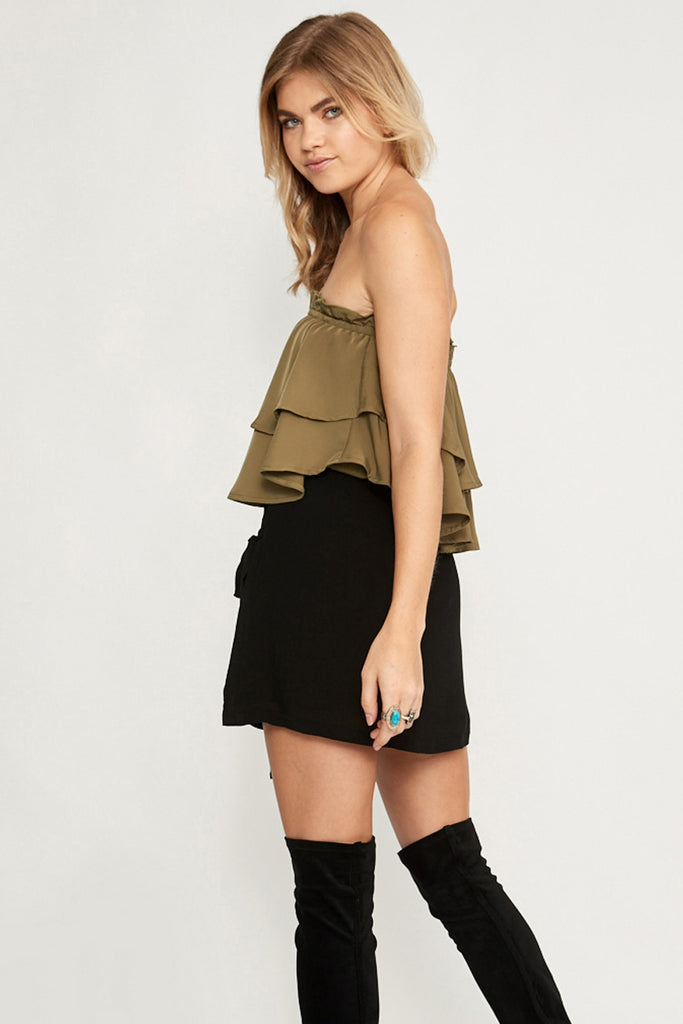 Alicia Ruffle Strapless Top Khaki