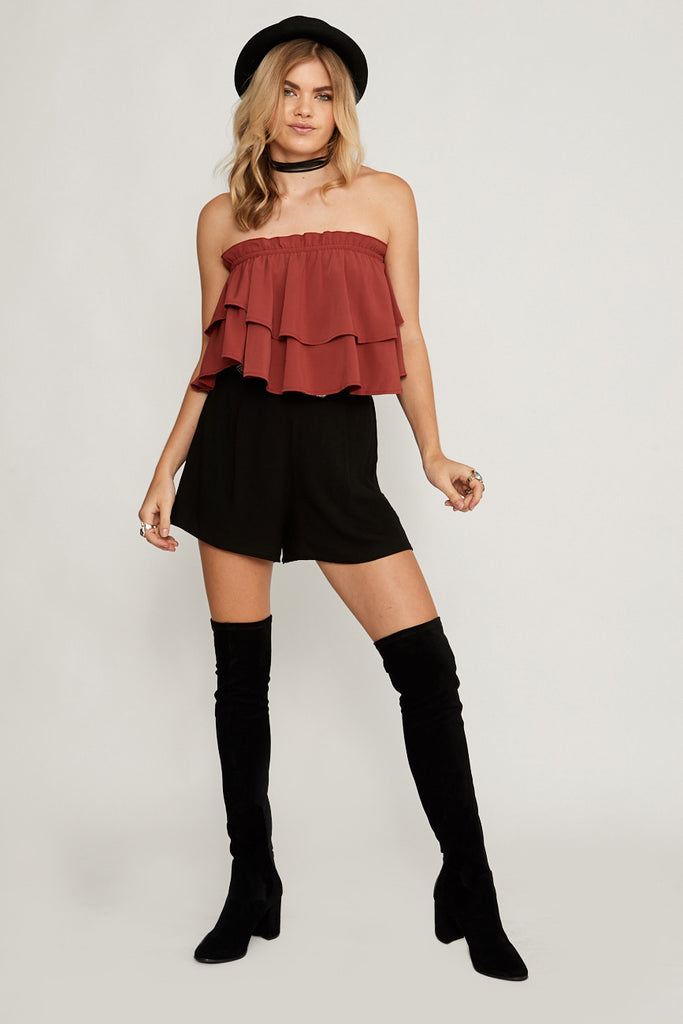 Yasmin Ruffle Strapless Top Terracotta