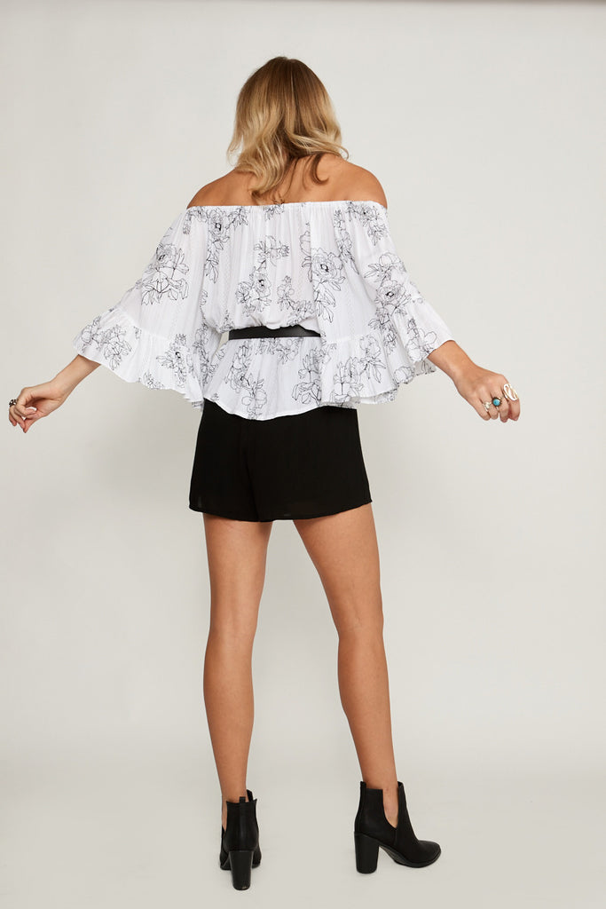 Dahlia Stripe Off Shoulder Top