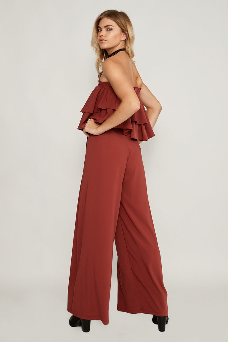 Yasmin Wide Leg Pants Terracotta