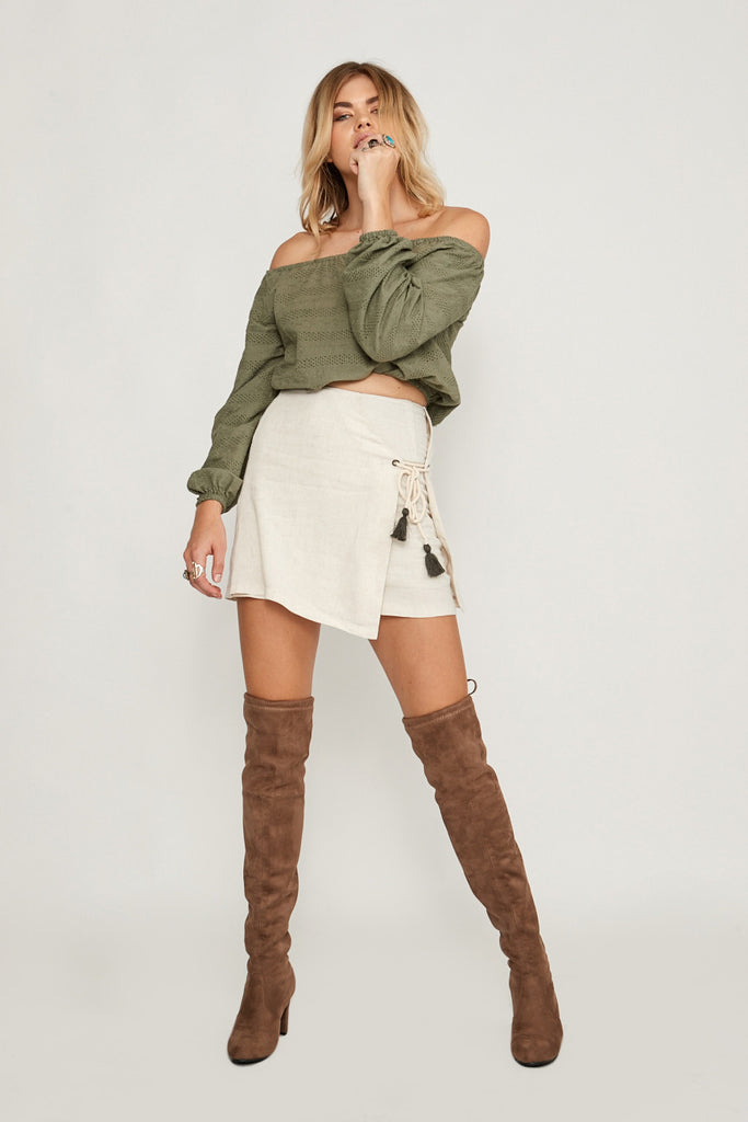 Heather Off Shoulder Top Sage