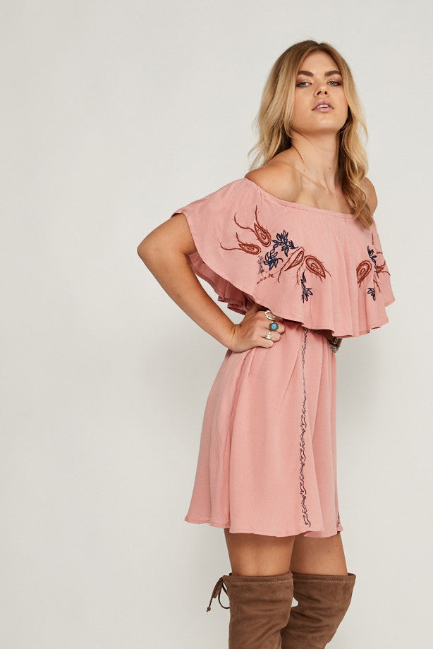 Saint Rodeo Off Shoulder Top Pink