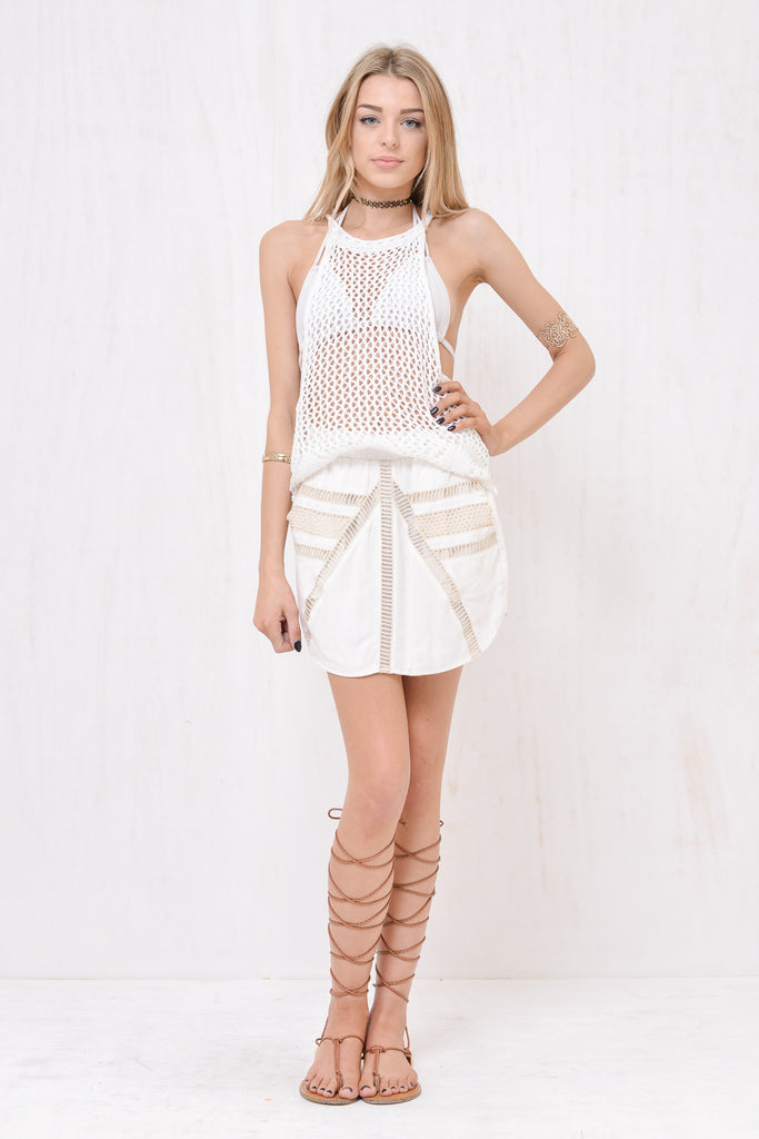 Santorini Loose Knit Singlet White - Morrisday | The Label - 1