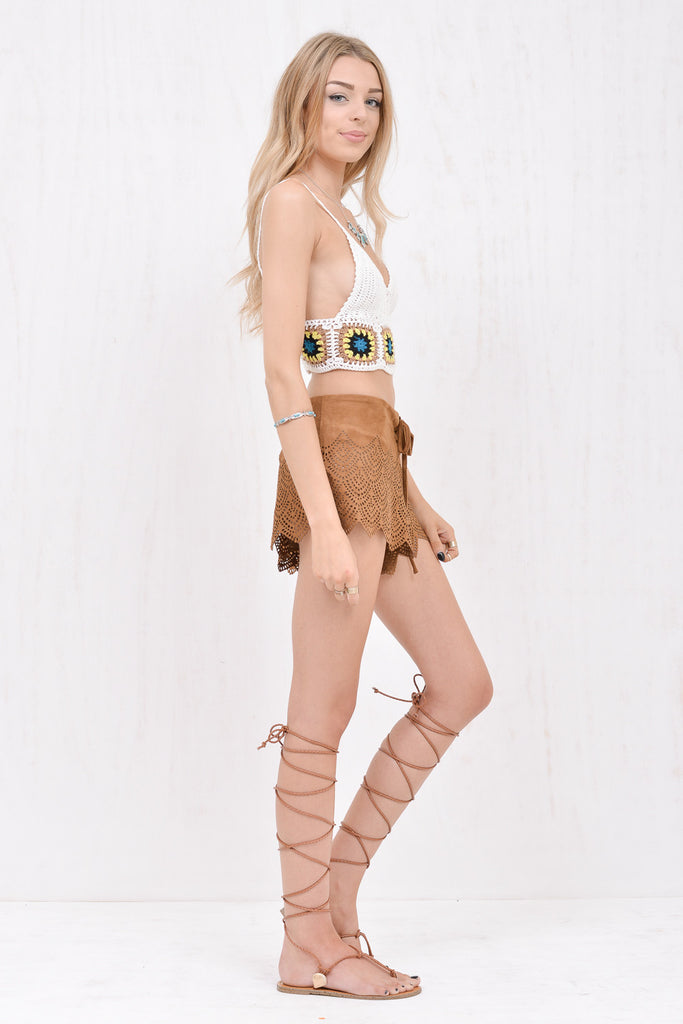 Jane Brown faux-suede laser cut short - Morrisday | The Label - 3