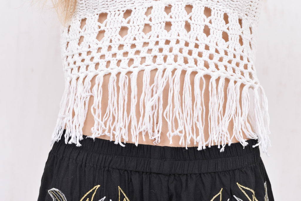 Lola Fringed Crochet Crop White - Morrisday | The Label - 7