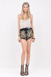 Lola Fringed Crochet Crop White