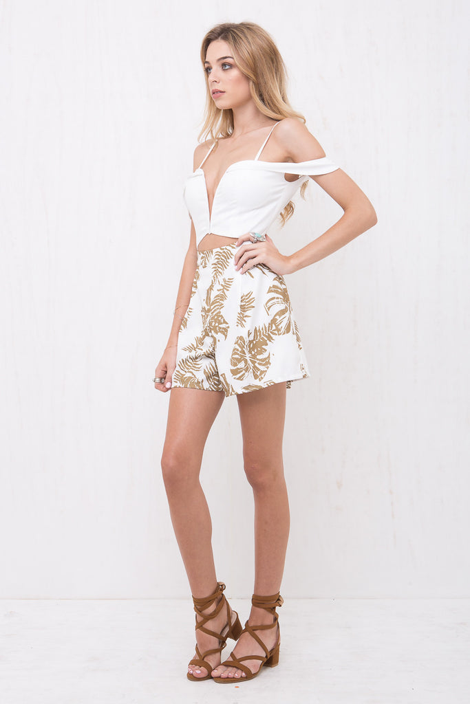 California Playsuit White/Palm Tree Print - Morrisday | The Label - 3