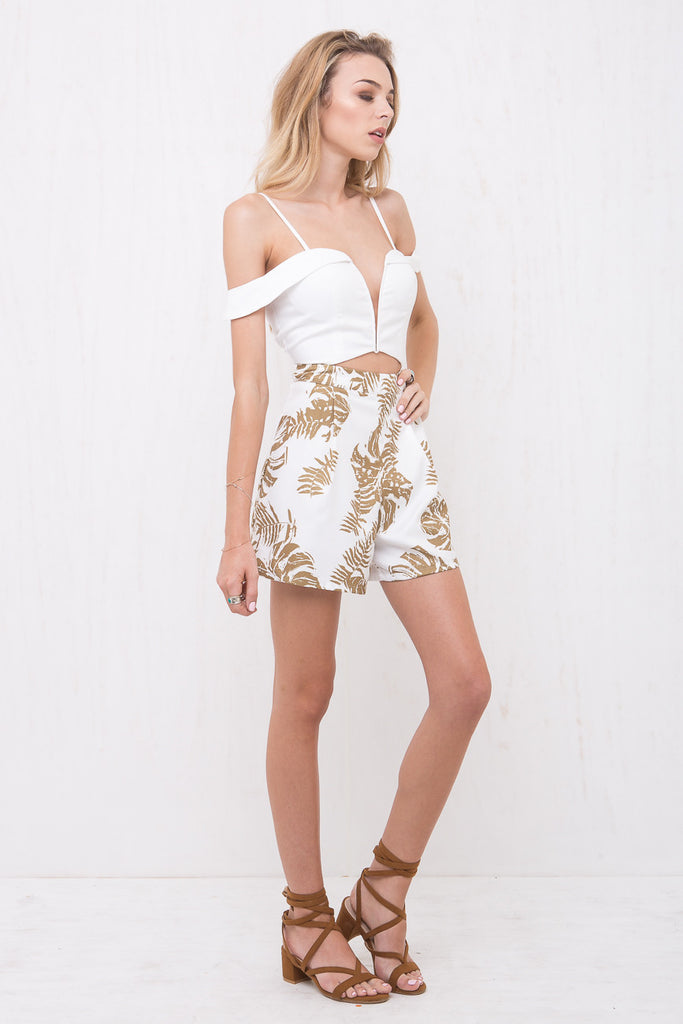 California Playsuit White/Palm Tree Print - Morrisday | The Label - 4