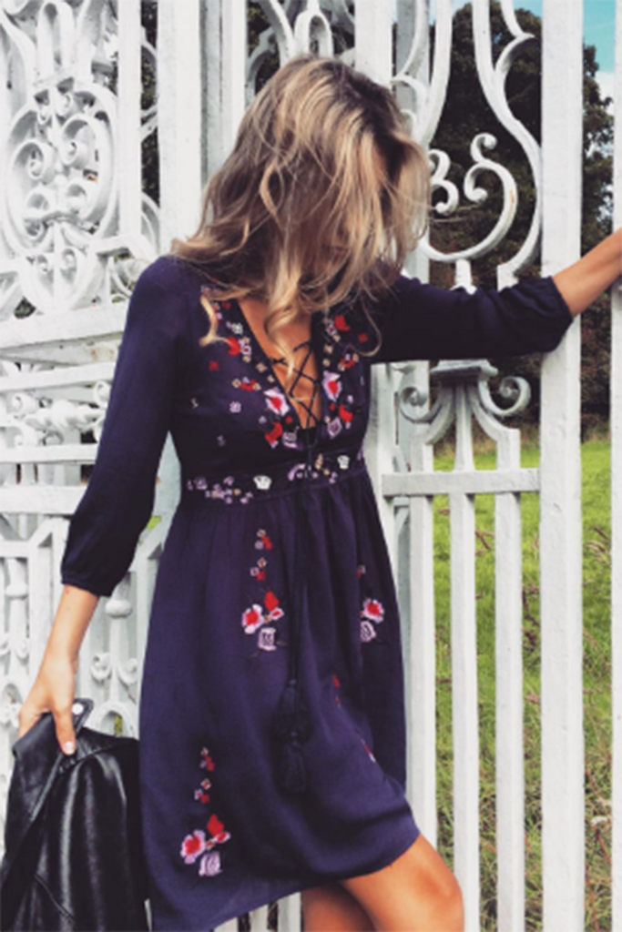 Sun Chaser Embroidered Dress Navy - Morrisday | The Label - 2