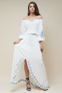 Mykonos Embroidered Maxi Skirt