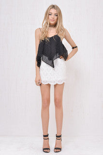 Mermaid Sequin Mini Skirt White