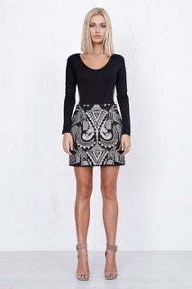 Nina Embroidered Skirt Black