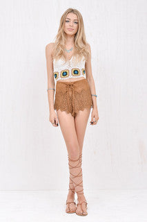 Jane Brown faux-suede laser cut short