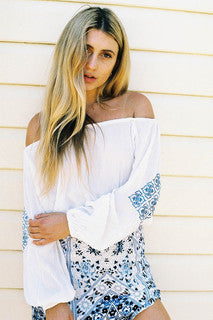 Mykonos Off-Shoulder Embroidered Top