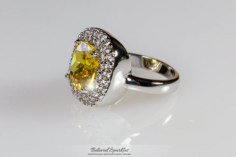 2019 Fashion Awesome Canary Yellow Cushion Cubic Zirconia Solitaire Pave Set Ring Size 7.5 Bridal & Wedding Party Jewelry Jewelry & Watches