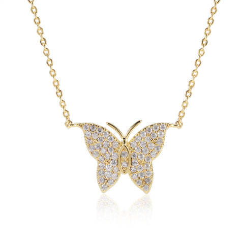 Amber Pave CZ Butterfly Pendant
