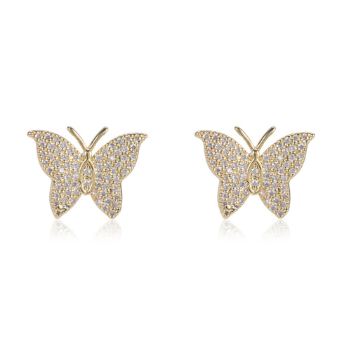 Amber Pave CZ Butterfly Stud Earrings