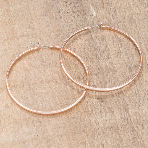 Flavila Classic Rose Gold Large Hoop Earrings