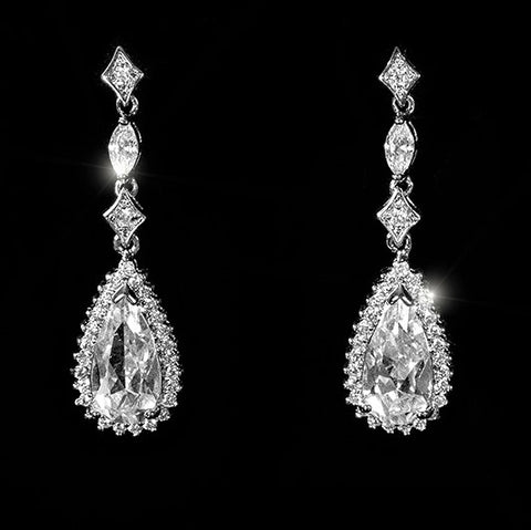 Penny Pear Cut Halo Drop Dangle Earrings | 4ct | Cubic Zirconia | Silver