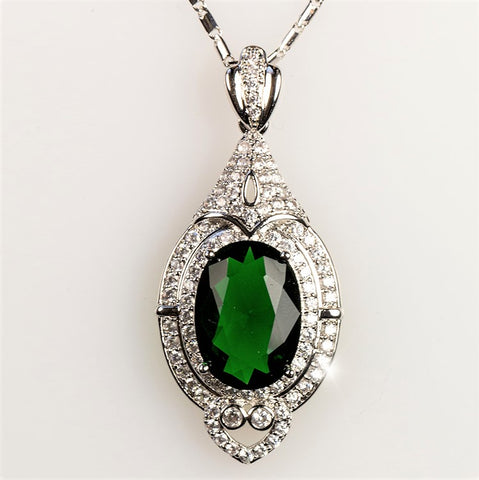 Adela Art Deco Emerald Green Pendant | 27ct