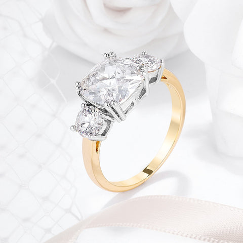 Addy Cushion Three Stone Gold Engagement Ring | 3.75ct