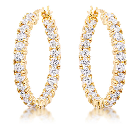 Abella Round Eternity Hoop Earrings | 18k Gold