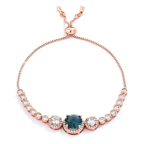 Abigail  Blue Green CZ Rose Gold Bolo Slider Bracelet