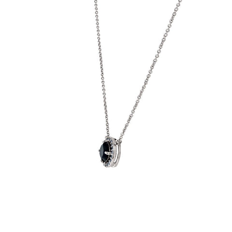 Isla Black Round CZ Halo Silver Pendant – 10mm | 1.2ct
