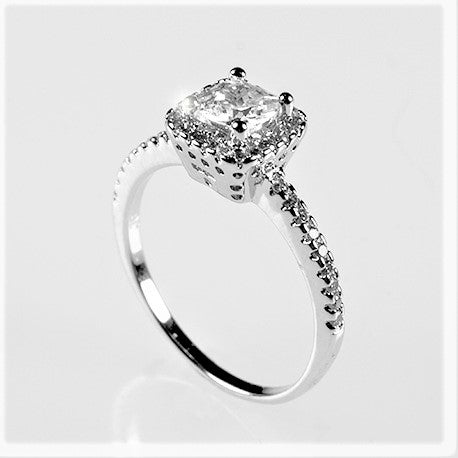 Ada Delicate Princess Cut Halo Engagement Ring | 1.25 ct | Cubic Zirconia