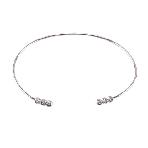 Adia CZ Round Mini Bar Silver Open Wire Bracelet