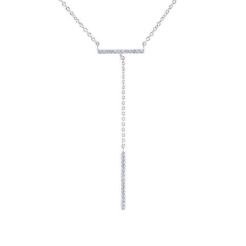 Adiel CZ Mini Bar Drop Lariat Necklace