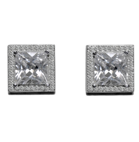 Agata Princess Cut Halo Stud Earrings | Cubic Zirconia | Silver