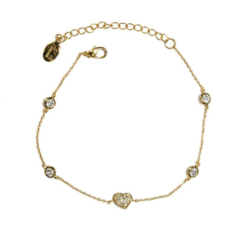 Aharona Gold Heart Charm Bracelet | 7in