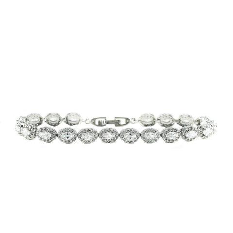 Aimee Oval HaloStatement Bracelet – 7.25 inch | 20ct