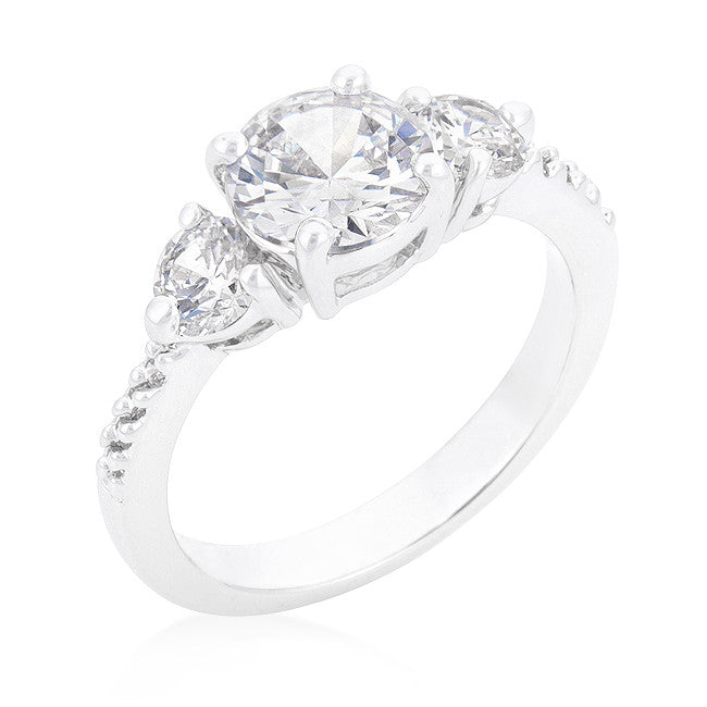 Alba Three Round Stone Engagement Ring | 2.5ct | Cubic Zirconia - Beloved Sparkles  - 1