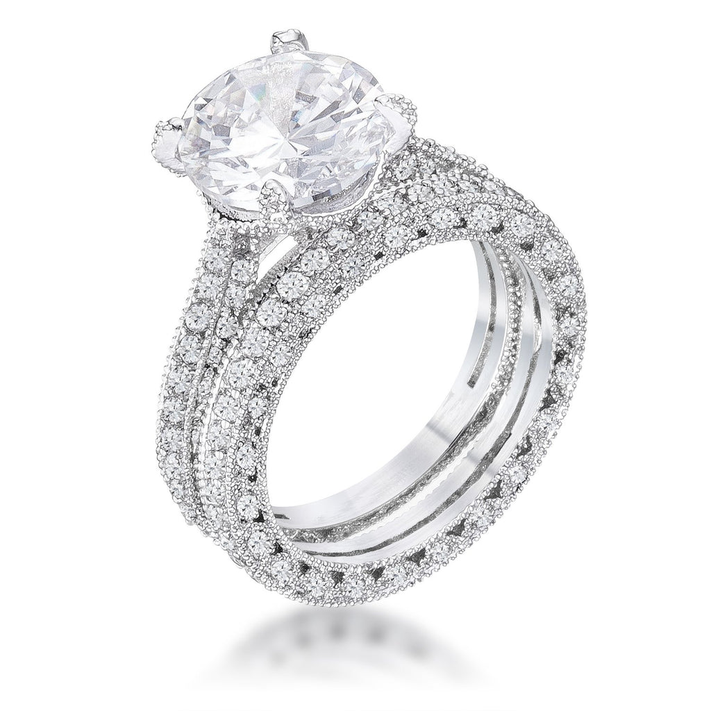 Alexa Vintage Round Solitaire Encrusted Engagement Ring Set | 6.5ct