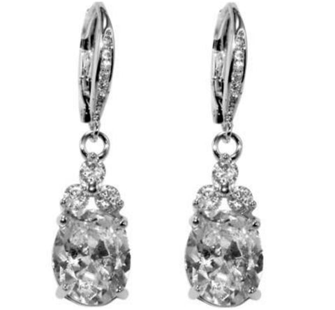 Amanda Oval Drop Dangle Earrings | 2.5ct