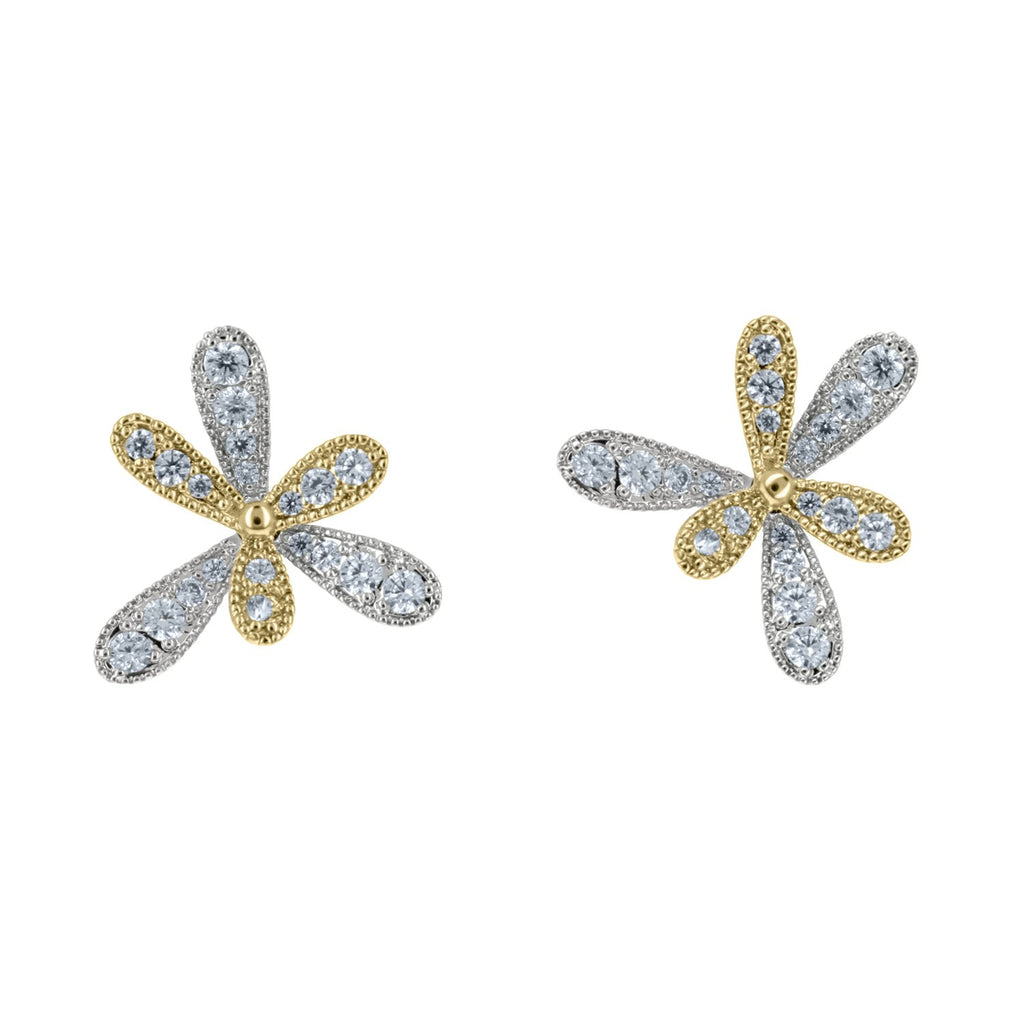 Lexi Pave CZ Double Moveable Clover Earrings