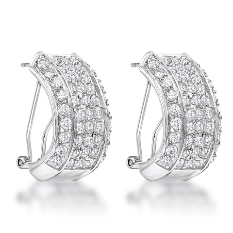 Ankea Dazzling Clear CZ Cluster Huggie Earrings | 3ct