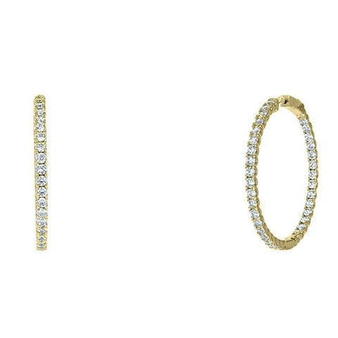 "Anna 1.6"" Inside Outside CZ Gold Hoop Earrings"